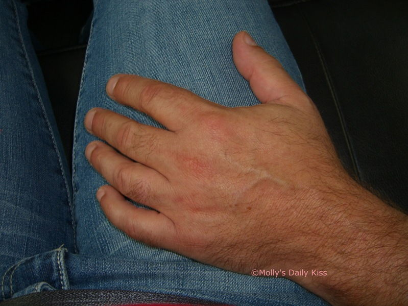 His hand on my thigh