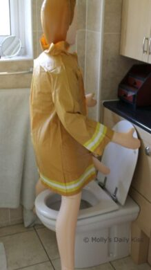 male blow up sex doll in the toilet