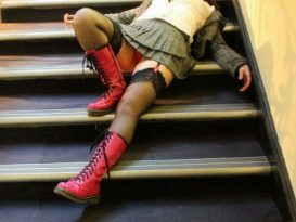 laying on the stairs at Eroticon