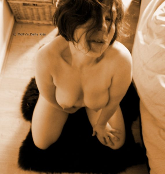 Kneeling naked submissive