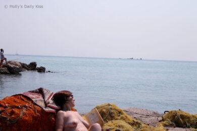 Topless on fishing nets