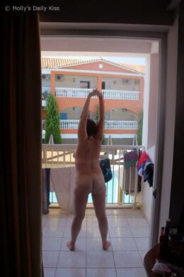 Morning stretches on balcony