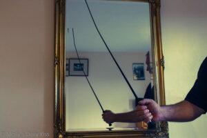 Man holding dressage whip
