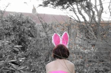 Easter bunny girl with butt plug tail