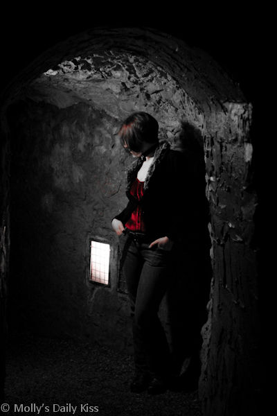 Slut waiting for her man in The Hell Fire Caves West Wycombe
