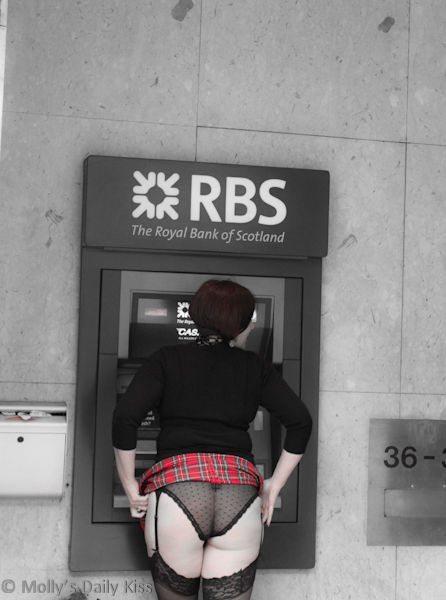 Flashing panties at the cash point