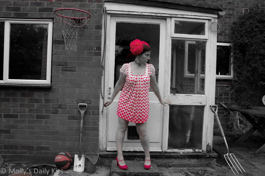 Molly wearing pink dotty dress