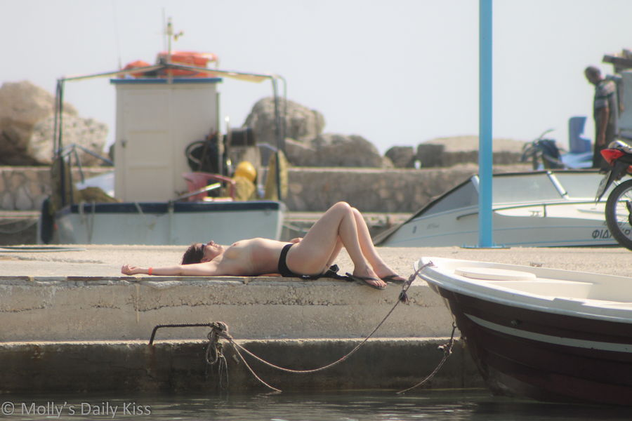 Topless sunbathing in Greece