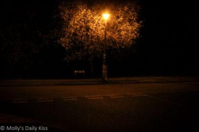 naked in the street light