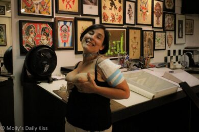 Tits out in tattoo shop