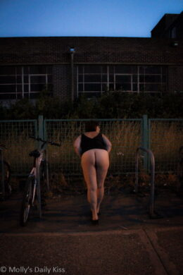 Mooning by the bike racks