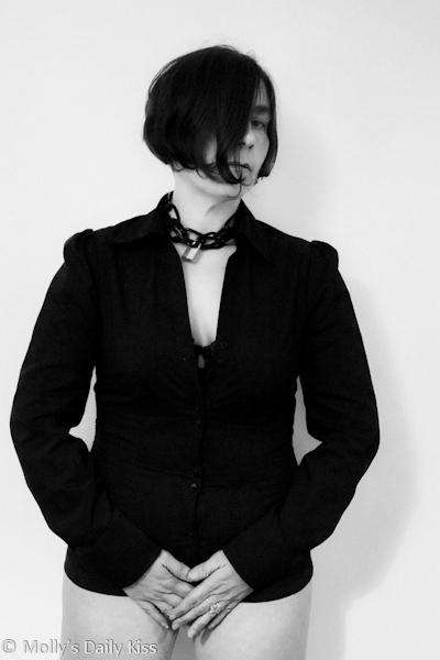 Black shirt bratty sub
