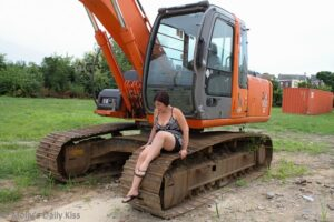 Sitting on a construction digger