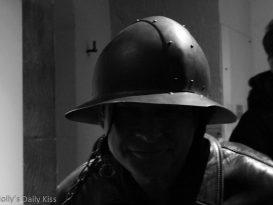 Man wearing medieval helmut