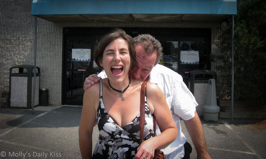 Laughing while being bitten on the neck