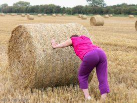 Pushing a circular haybale