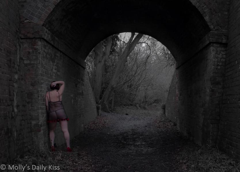 Standing in my underwear in a tunnel