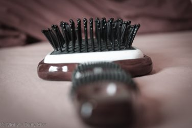 Close up of hair brush for masturbating