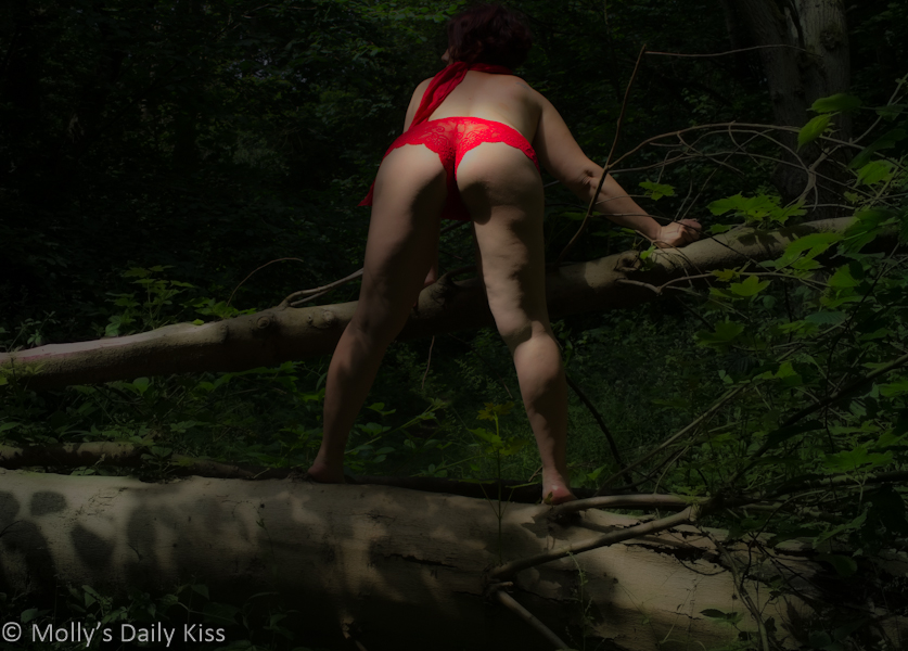 Red panties in the woods