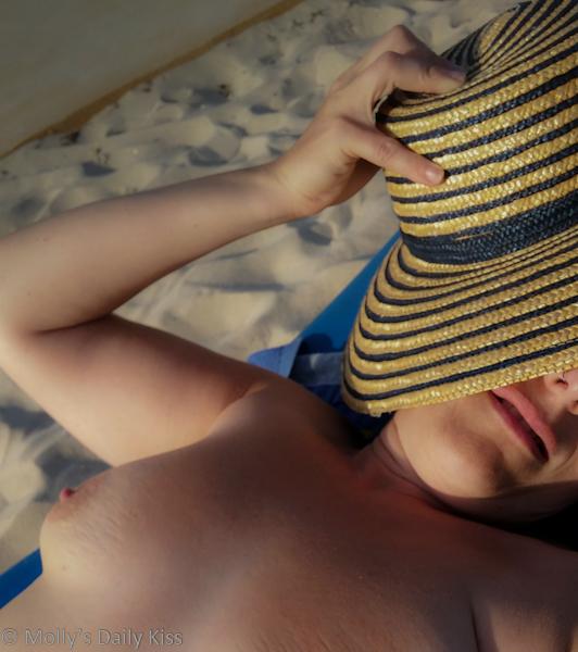 Sunbathing topless