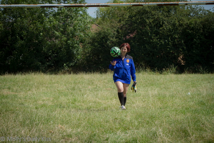 woman in knickers and football shirt