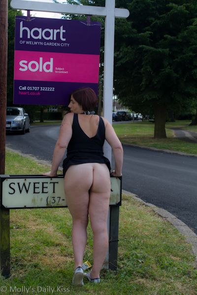 Real Estate sign with bare bum