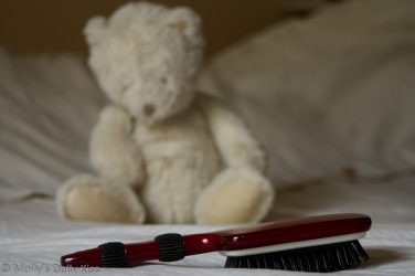 Hairbrush with teddy watching over it