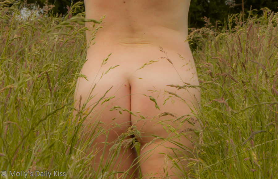 Naked bottom in field of long grass