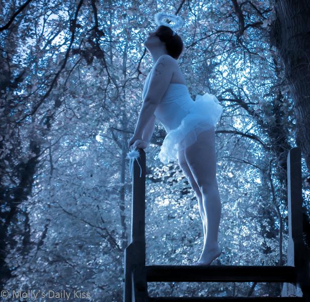 White angel in white scenery
