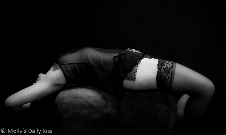 Black and white erotic self portrait