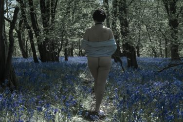 rubenesque woman standing in bluebells naked
