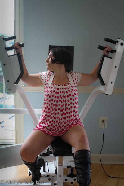 Sexy Molly on gym equipment