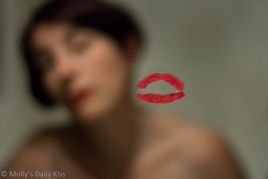 Lipstick kiss on mirror