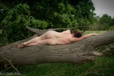 Molly laying naked on a fallen tree