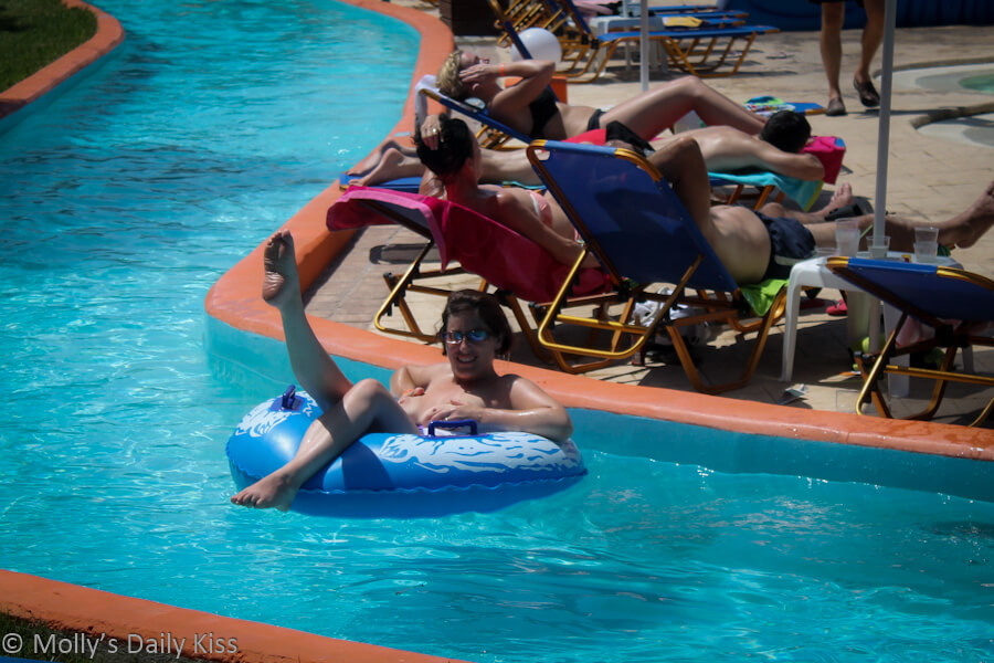 Topless in water park lazy river