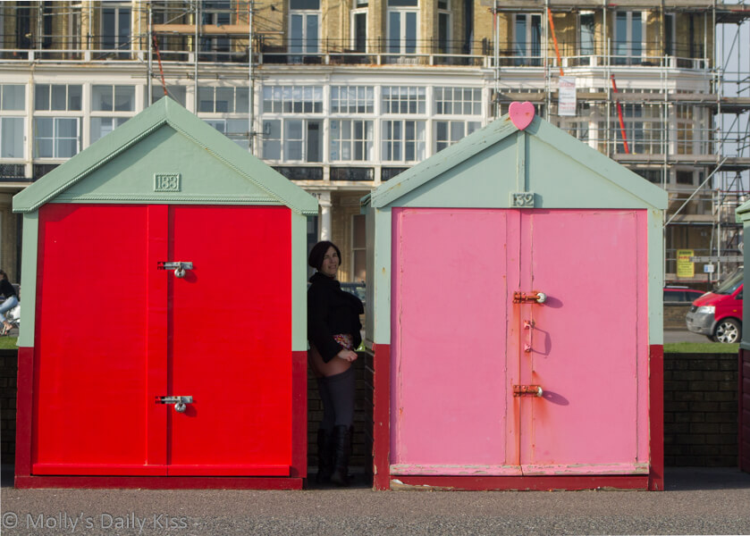 Waiting by the beach huts to flash bottom
