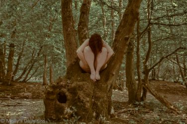Molly sitting naked in bow of tree in woodland