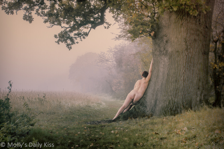 Molly leaning against tree in early morning mist