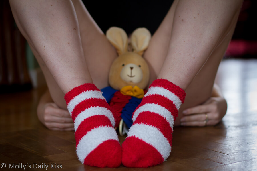 Easter bunny rabbit between mollys thighs