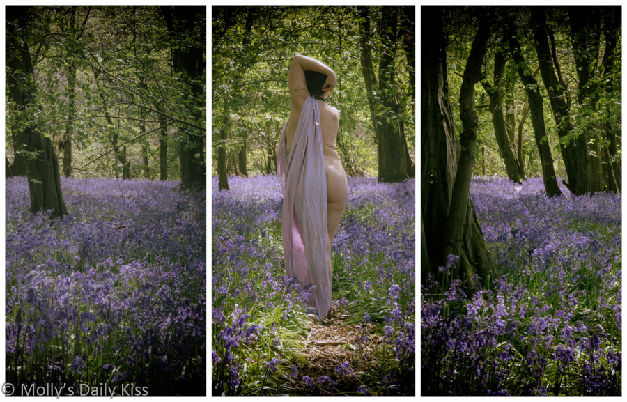 Molly walking through the bluebells naked