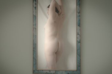 Reflection of Molly nude in mirror. To the Thinker