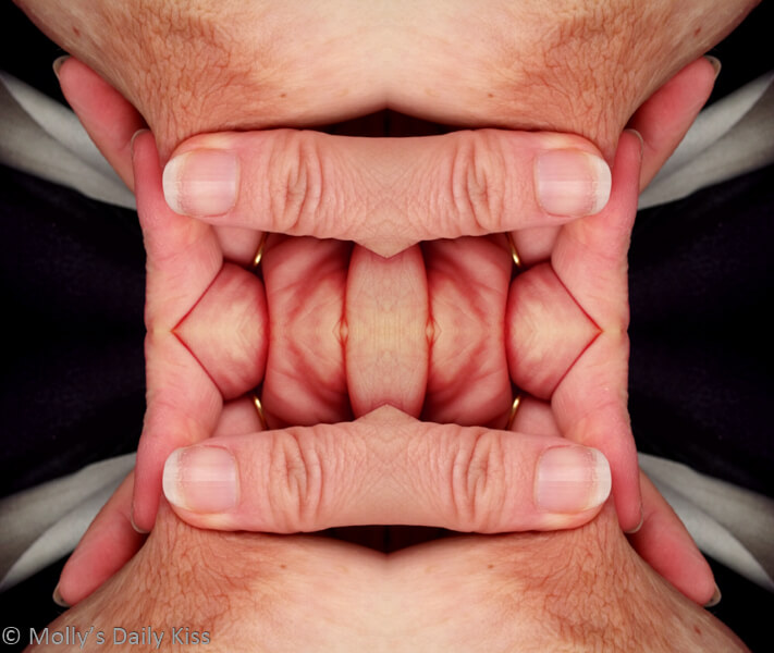 Abstract photograph image of nipple and hands