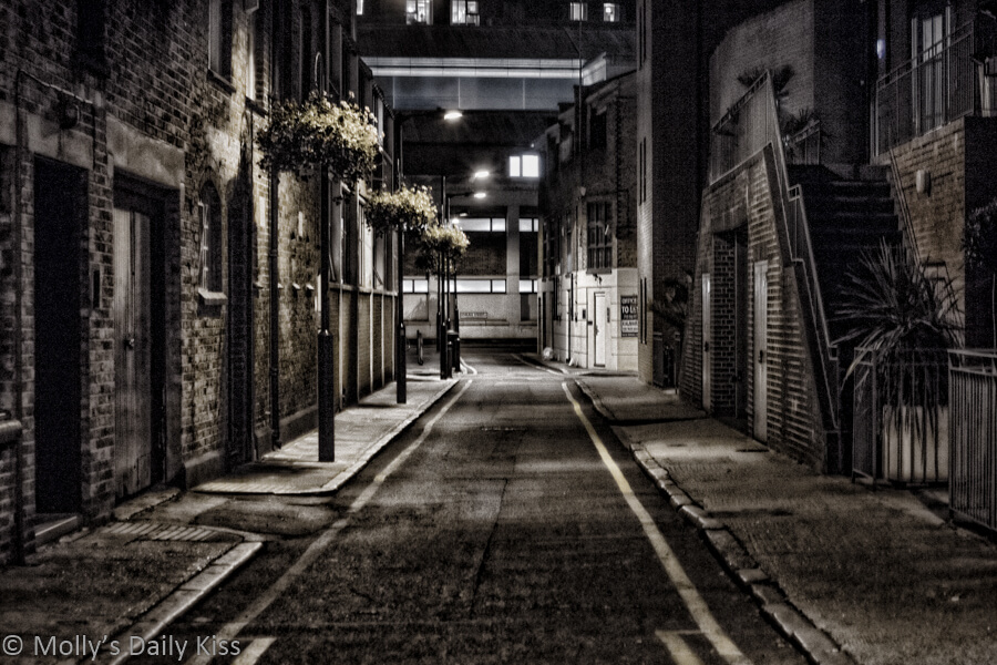 Dark alley in London for memories