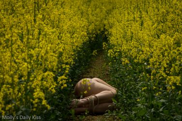 Laying naked with tied ankles in rape field inside my mind dark thought