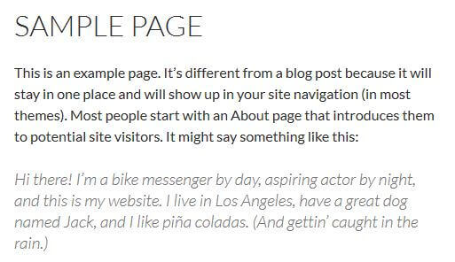 About me WordPress sample page