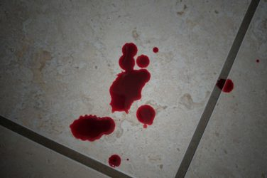 Drops of period blood on the floor