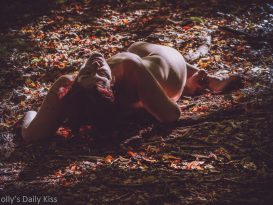 Molly laying on autumn woodland floor nude sets the gypsy blood astir