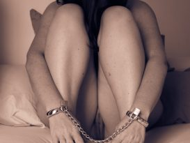 Molly in cuffs and chains asking for it