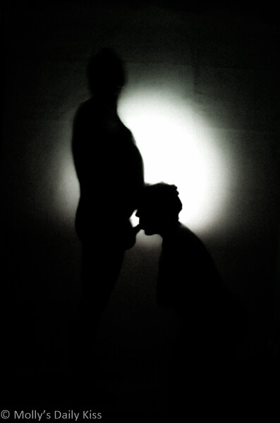 Silhouette image of molly on her knees sucking cock. Taste of you