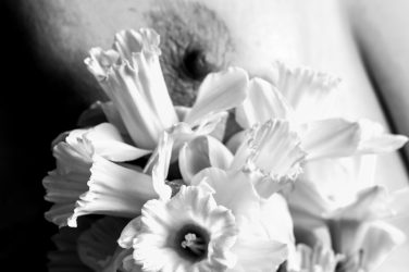Black and white shot of Molly's nipple with daffodils, Earth's dark breast